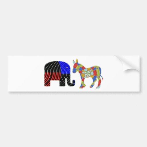 Personas extrañas de la cama: Burro del elefante n Pegatina De Parachoque
