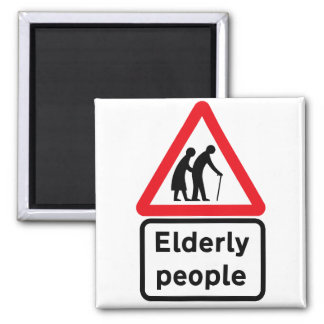 Personas mayores (2), señal de tráfico, Reino Imán Cuadrado