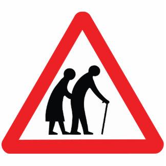 Personas mayores de la PRECAUCIÓN - señal de tráfi Esculturas Fotográficas