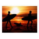 Personas que practica surf de la puesta del sol postal