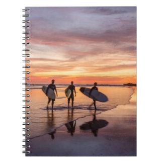 Personas que practica surf en la puesta del sol libros de apuntes