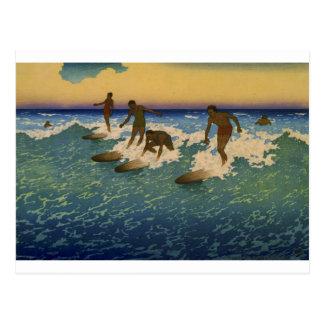 Personas que practica surf, Honolulu Hawaii que mo Tarjeta Postal