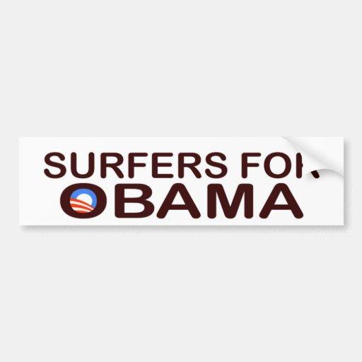 PERSONAS QUE PRACTICA SURF PARA OBAMA BUMPERSTICKE ETIQUETA DE PARACHOQUE