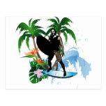 Personas que practica surf tarjetas postales