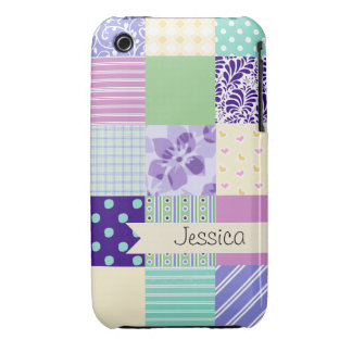 Personized Pastel Girly pattern squares iPhone 3 Case-Mate Cases