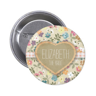Personlised Floral Heart And Gingham Print Badges Pinback Button