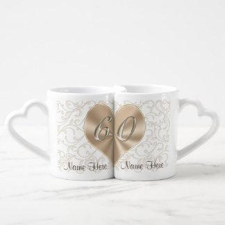 Personlized 60th Wedding Anniversary Lovers Mugs Couples' Coffee Mug Set