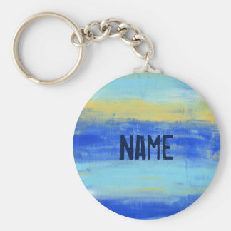 "Personlized Button Keychain  ""At the Beach"" Blue"