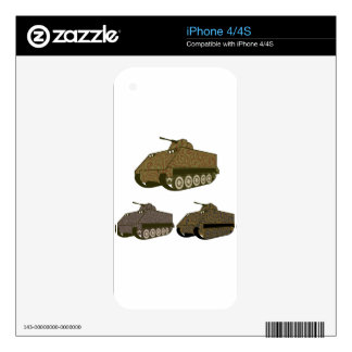Personnel carrier Camo Skin For iPhone 4