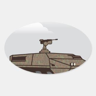 Personnel carrier grey sky oval sticker