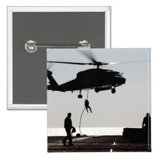 Personnel fast-rope out of an SH-60F Pinback Button