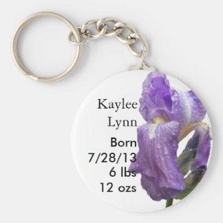 Personzlied Purple Iris Birth Announcement Keychain