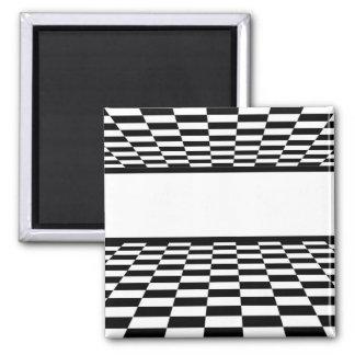 Perspectiva a cuadros negra y blanca imanes de nevera