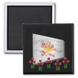 Perspectiva de la margarita del tulipán iman para frigorífico