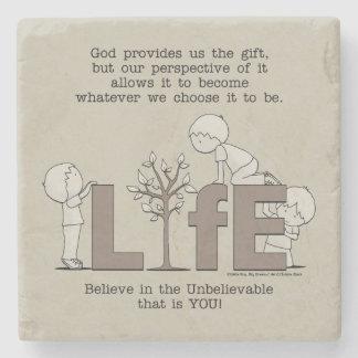 Perspectiva de la vida posavasos de piedra