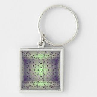 Perspectiva del cubo hecha de rompecabezas llaveros