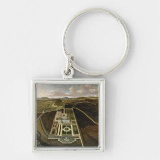 Perspectiva del sur del Hampton Court, Herefordshi Llavero Cuadrado Plateado