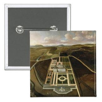 Perspectiva del sur del Hampton Court, Herefordshi Pin Cuadrada 5 Cm