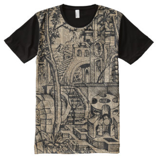 Perspective Illusion Greek Stret Dictionary Art All-Over Print T-shirt