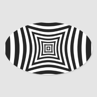 Perspective illusion oval sticker