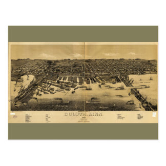 Perspective Map of Duluth Minnesota (1887) Postcard