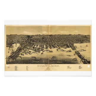 Perspective Map of Duluth Minnesota (1887) Stationery