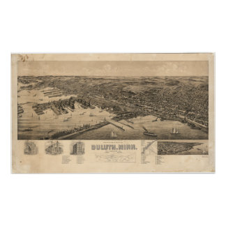 Perspective Map of Duluth Minnesota (1893) Poster