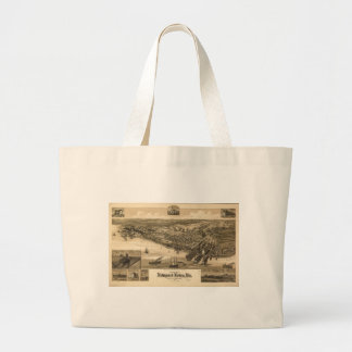 Perspective Map of Newport News Virginia (1891) Large Tote Bag