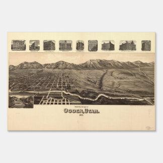 Perspective Map of Ogden Utah (1890) Lawn Sign