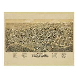 Perspective map of Texarkana Texas and Arkansas Postcard