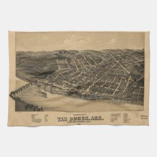 Perspective Map of Van Buren Arkansas (1888) Hand Towel