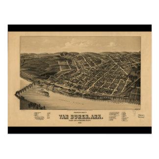 Perspective Map of Van Buren Arkansas (1888) Postcard
