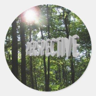 Perspective Motivational Sun Through Trees Round Sticker