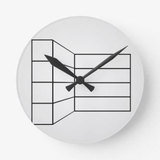Perspective of a wall- abstract architecture graph round wall clock