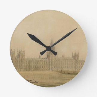 Perspective View of the new Houses of Parliament, Round Clock