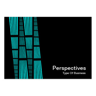 Perspectives v2 - Cyan and White on Black Business Card Template