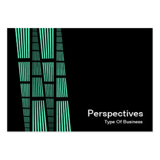 Perspectives v2 - Turquoise and White on Black Business Cards