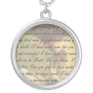 Persuasion Letter Round Pendant Necklace