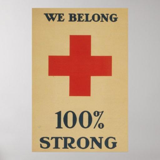 Pertenecemos el 100% fuerte - Cruz Roja Póster