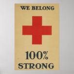 Pertenecemos el 100% fuerte - Cruz Roja Posters