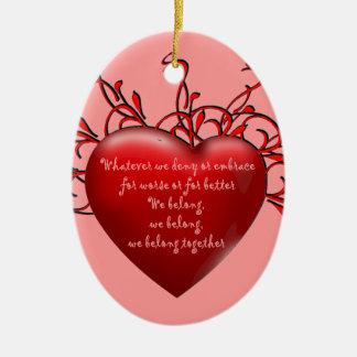 Pertenecemos juntos adorno navideño ovalado de cerámica