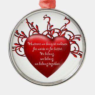 Pertenecemos juntos adorno navideño redondo de metal