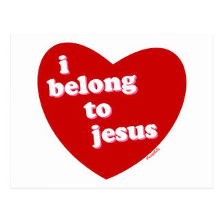 Pertenezco al diseño del corazón de Jesús Tarjeta Postal