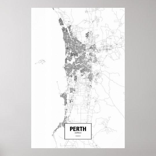 Perth, Australia (black on white) Poster