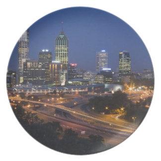 Perth, Australia. Vista de Perth céntrica de Plato De Cena