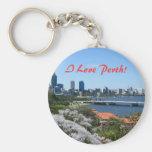 Perth Basic Round Button Keychain