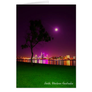 Perth City Lights from the South Perth Foreshore Card