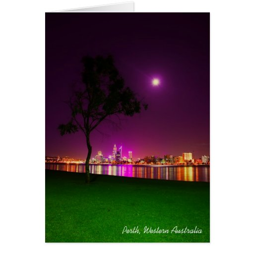 Perth City Lights from the South Perth Foreshore Greeting Card