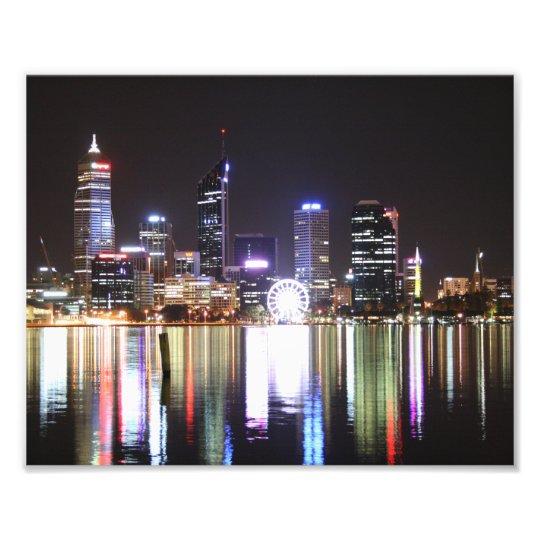 Perth City, Night Skyline, Austraila 10 x 8- Print
