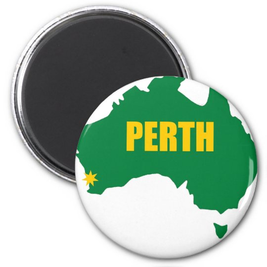 Perth Green and Gold Map Magnet